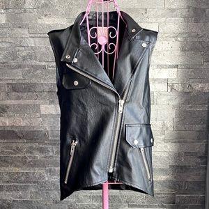 OAT + FORT Faux Black Leather Oversized Vest size6
